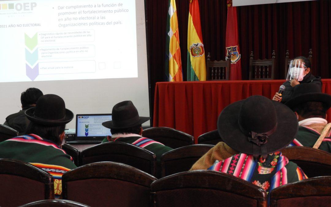 Taller de Diagnóstico recoge las necesidades de las organizaciones políticas en Oruro