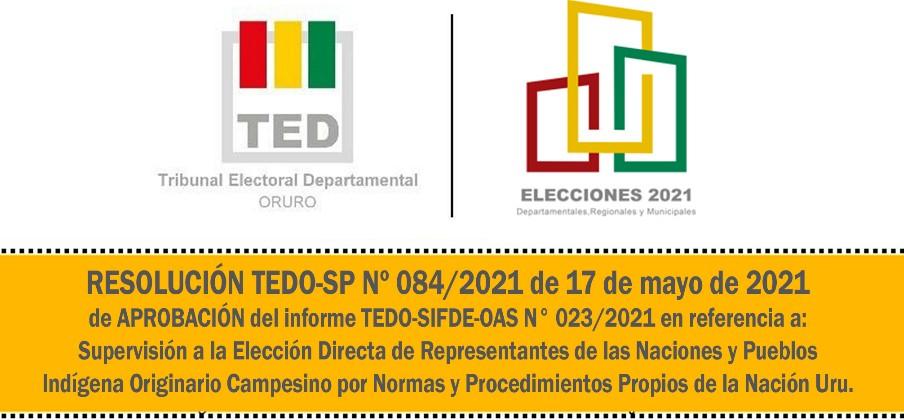 RESOLUCION TEDO-SP Nº 084/2021