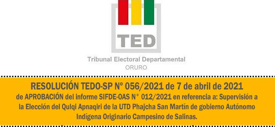 RESOLUCION TEDO-SP Nº 056/2021