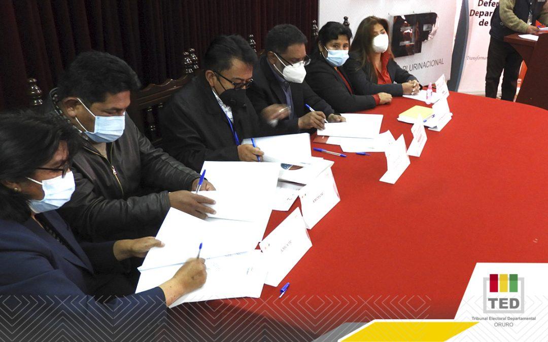 """El TED-Oruro promoverá la """"Cultura de Paz"""" para mitigar violencia política hacia las mujeres"""