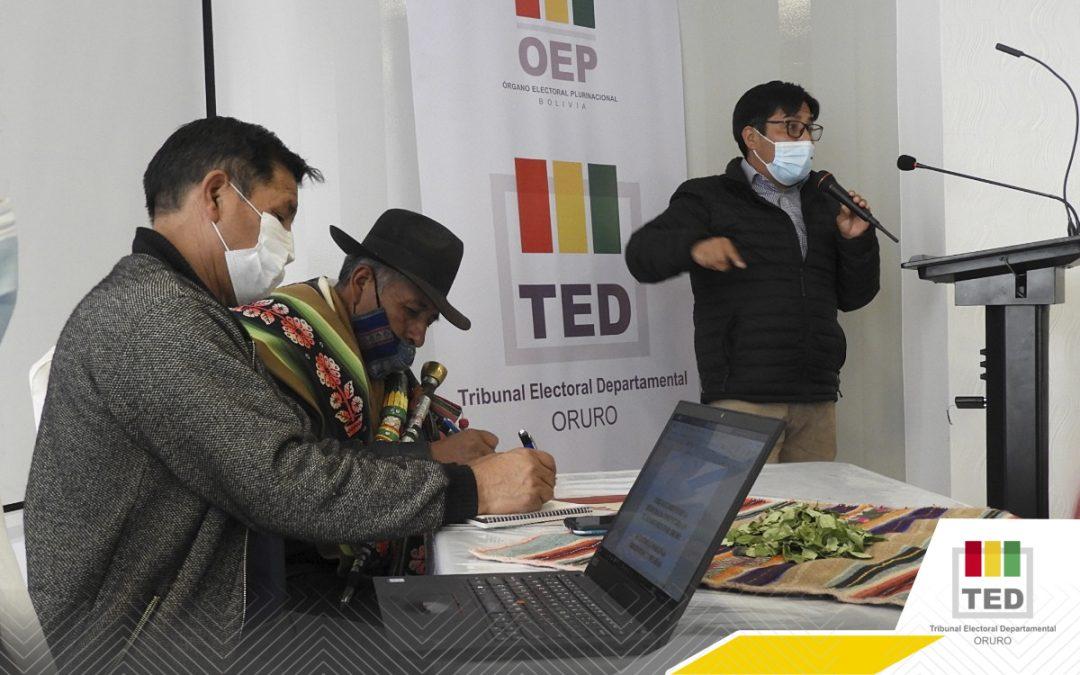 El TED-Oruro y GAIOC-Salinas trazan agenda de trabajo para impulsar la democracia comunitaria